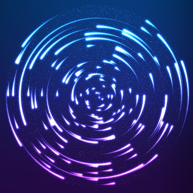 Glowing particles flying around the center leaving trails Free Vector