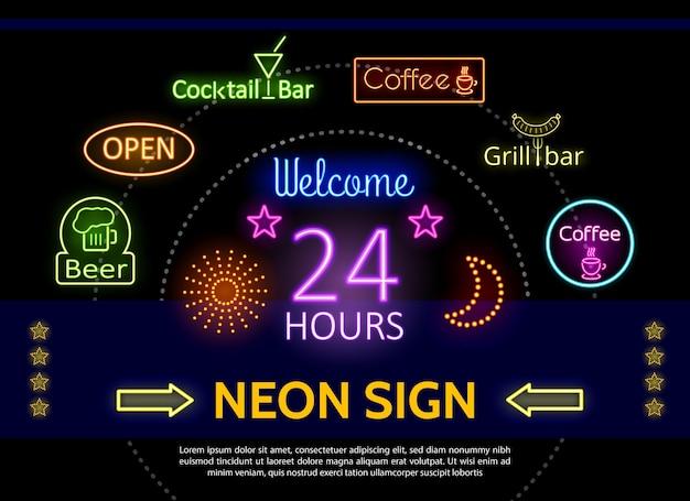 Modello di insegne al neon promozionali incandescente Vettore gratuito