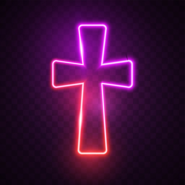 Glowing purple cross. Premium Vector