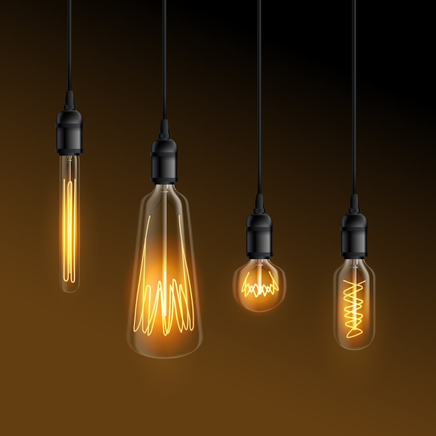 Glowing realistic light bulbs Free Vector