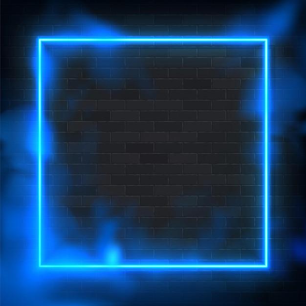 Светящийся прямоугольник неоновая рамка освещения иллюстрации с синим фоном. Premium векторы
