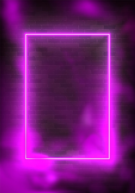 Светящийся прямоугольник неоновая иллюстрация освещения рамки с фиолетовым Premium векторы