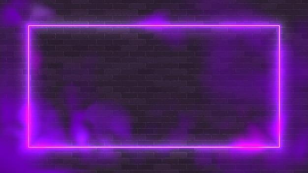 Светящийся прямоугольник неоновая векторная иллюстрация освещения рамка с фиолетовым фоном. Premium векторы