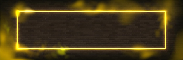 Светящийся прямоугольник неоновая векторная иллюстрация освещения кадра с желтым фоном. Premium векторы
