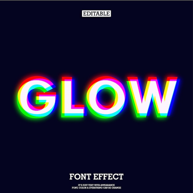 Glowing red green blue text effect Premium Vector