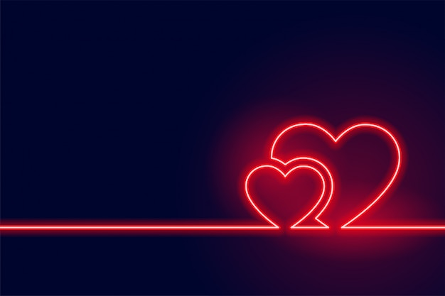 Glowing red neon heart valentine day background Free Vector