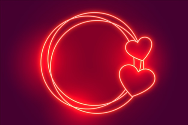 Glowing red neon hearts frame background Free Vector