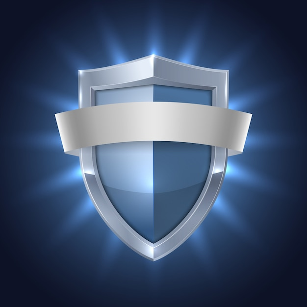 Glowing shield with blank ribbon safety badge Free Vector
