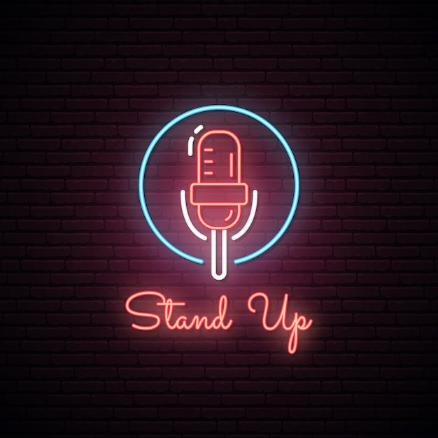 Glowing stand up sign. neon effect. Premium Vector