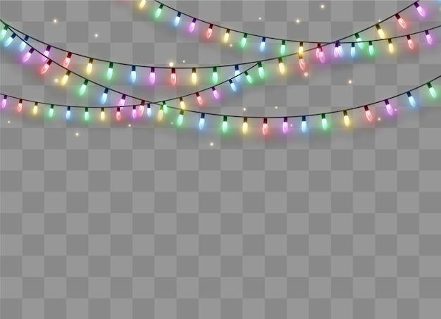 Glowing string garland, lightbulbs. Premium Vector