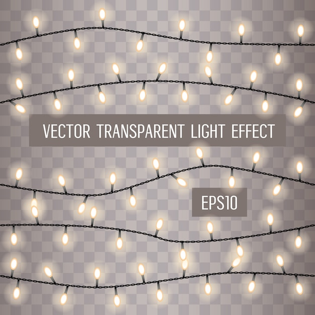 Glowing string lights on a transparent background Premium Vector