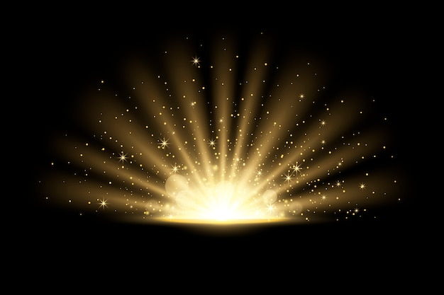 Glowing sunrise light effect Free Vector