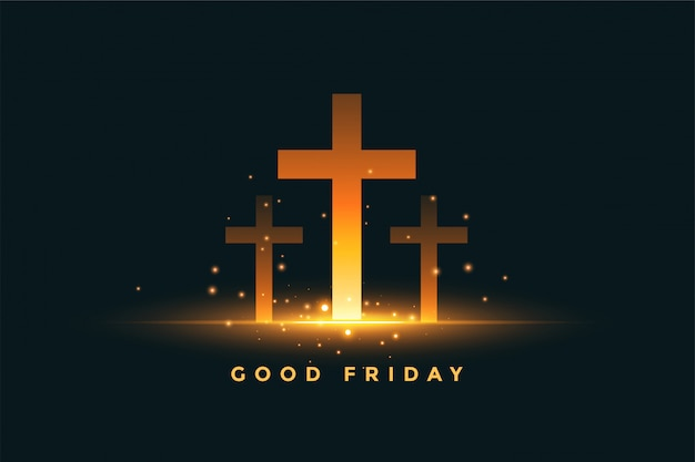 Glowing three cross good friday concept background Free Vector
