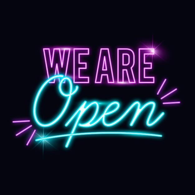 輝く「私たちは開いている」サイン 無料ベクター