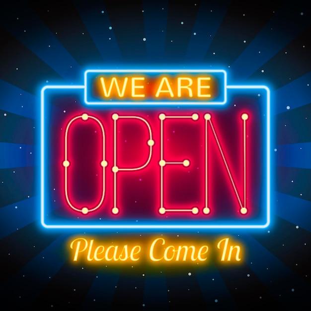 Светящийся знак «мы открыты» Бесплатные векторы