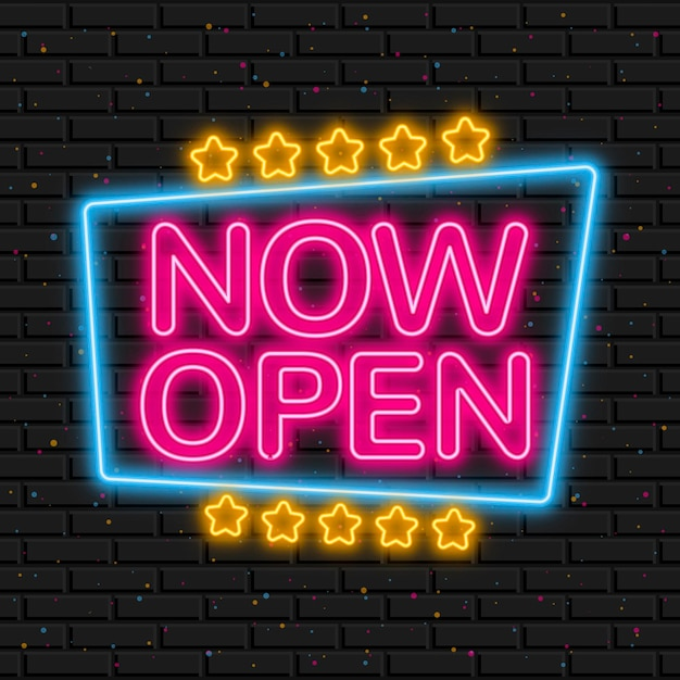 Glowing 'we are open' sign Free Vector