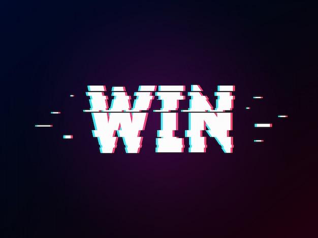 Glowing word win lettering Premium Vector