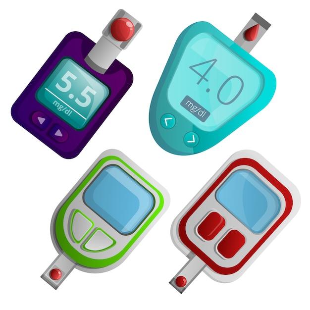 Набор иконок метр глюкозы, мультяшном стиле Premium векторы