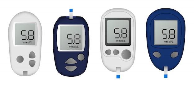 Glucose meter icon set. realistic set of glucose meter vector icons for web design isolated on white background Premium Vector