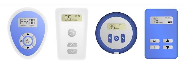 Glucose meter icons set, realistic style Premium Vector