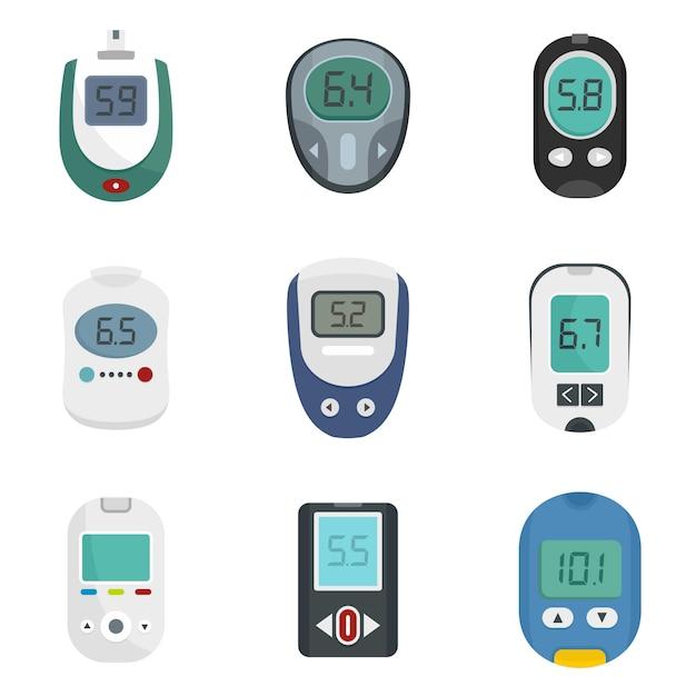 Glucose meter sugar test icons set Premium Vector