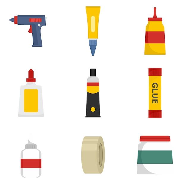 Glue stick adhesive icons set Premium Vector