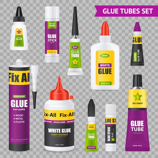 Glue tubes set Free Vector
