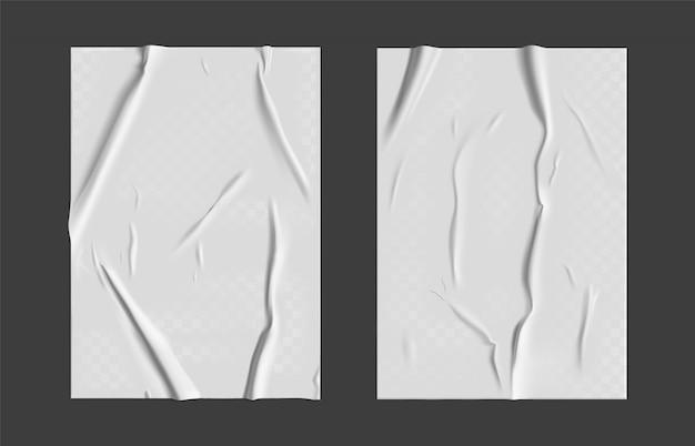 Клееная бумага с мокрой прозрачной морщинистой эффект на сером фоне. белый шаблон мокрой бумаги плакат с мятой текстурой. Premium векторы