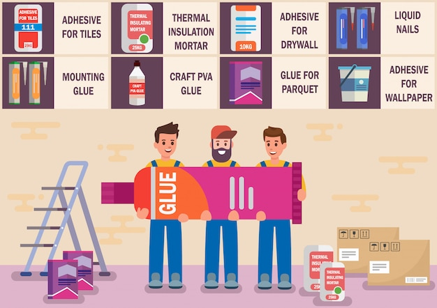 Glues and adhesive materials flat vector banner Premium Vector