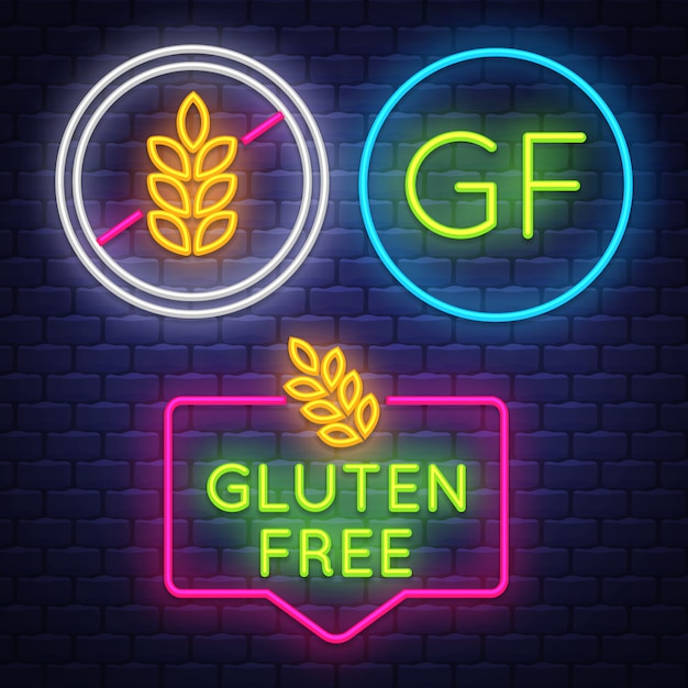 Gluten free badge collection Premium Vector
