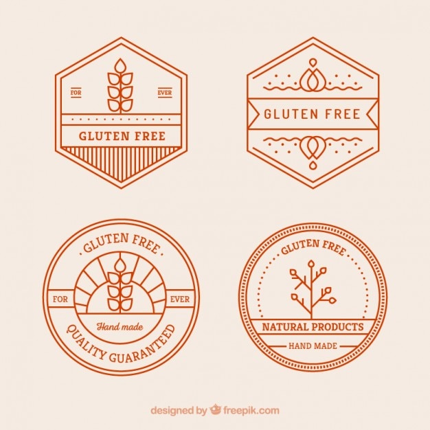 Gluten free badges Free Vector