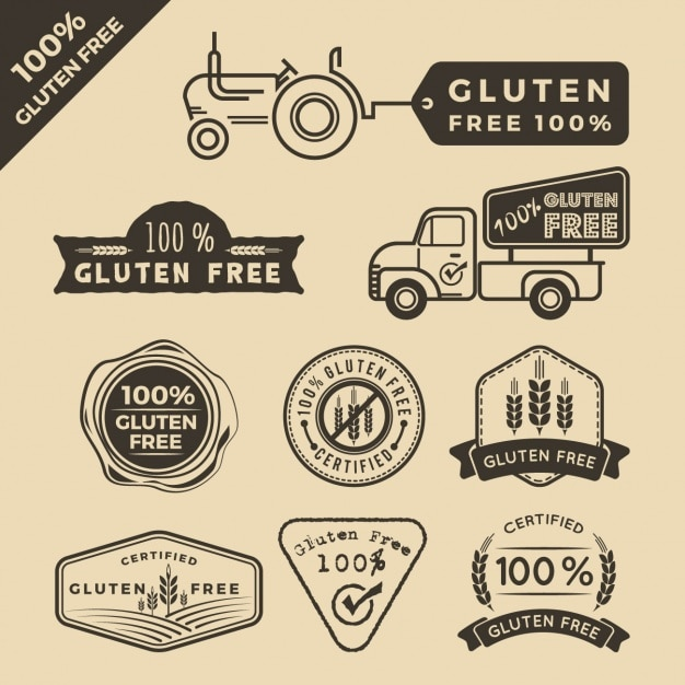 quotgluten freequot labels collection vector free download