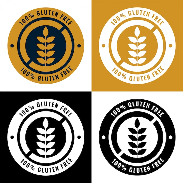 Gluten free labels and symbol icons set Vector | Free Download