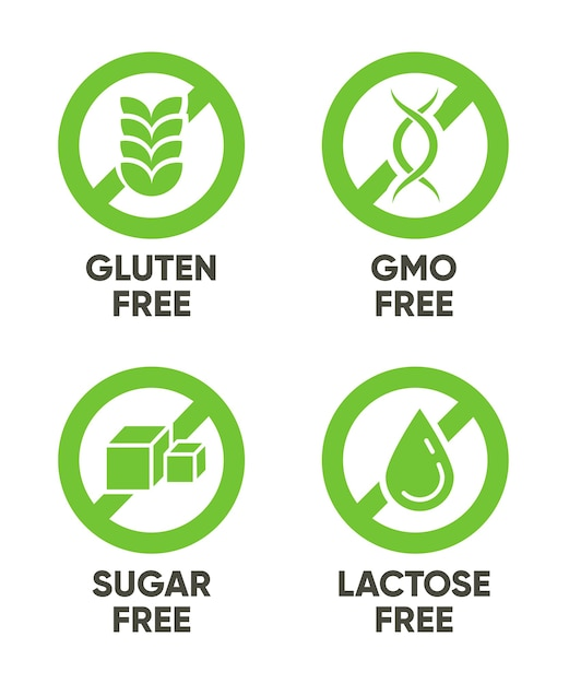 Gluten, gmo, sugar, lactose free signs. set of green symbols with text for allergy, healthy food, natural organic products . vector illustrations isolated on white background Free Vector