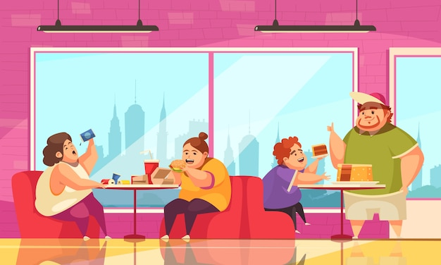 Gluttony and cafe  with people overeating symbols flat Free Vector