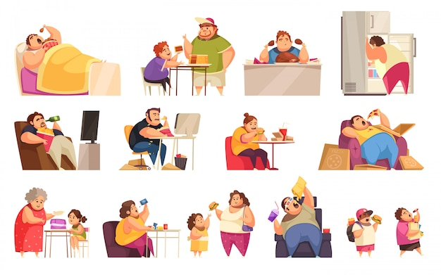 Gluttony icons set with obsessive eating symbols flat isolated Free Vector