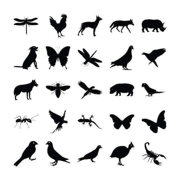 Глиф пиктограмм животных Premium векторы