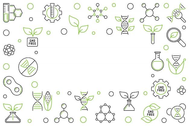 Gmo free concept vector horizontal outline creative frame or illustration Premium Vector
