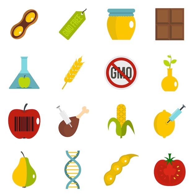 Gmo icons set in flat style Premium Vector