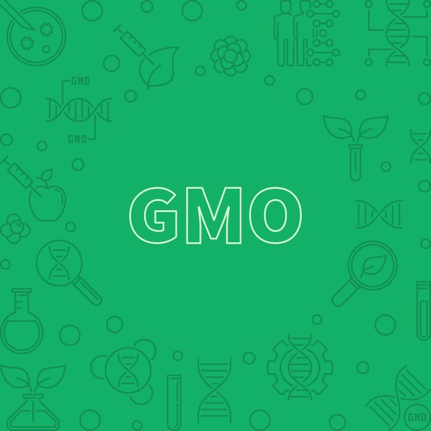 Gmo vector green concept outline frame Premium Vector