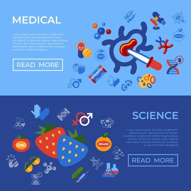 遺伝子工学gmo技術のアイコンが設定されて Premiumベクター