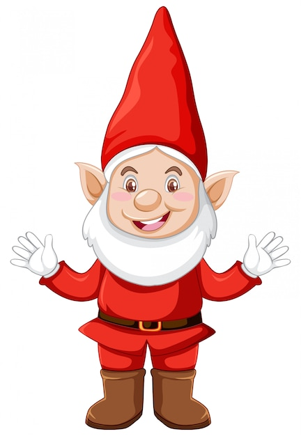 Free Vector Gnom Standing Position With Christmas Clothes In Cartoon Character On White Background