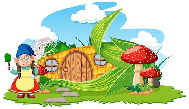 キノコの漫画のスタイルの空にノームとトウモロコシの家 無料ベクター