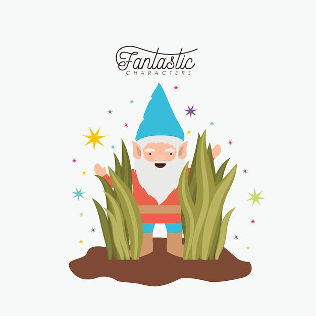 Gnome fantastic character coming out of the bushes Premium Vector