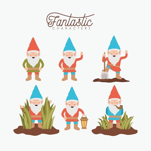 Gnome fantastic character set Premium Vector