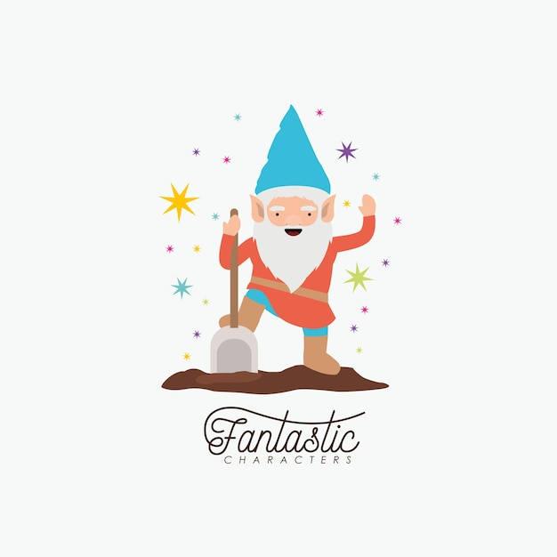 Gnome fantastic character with shovel and colorful sparks Premium Vector