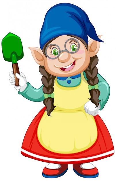Gnome少女と白い背景の上の漫画のキャラクターで立った位置にシャベル 無料ベクター