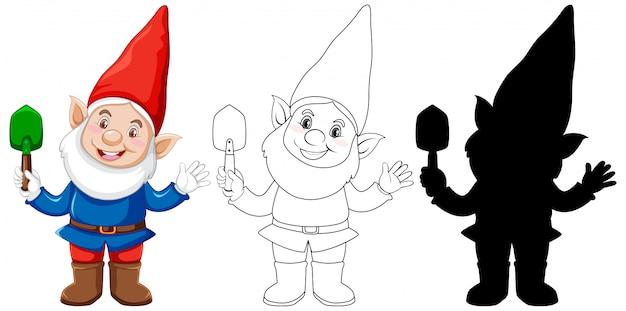 白い背景の上の漫画のキャラクターの色と輪郭とシルエットでシャベルを保持しているgnome 無料ベクター