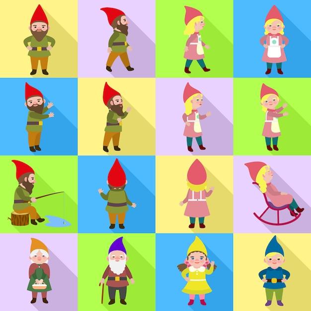Gnome icons set. flat set of gnome vector Premium Vector