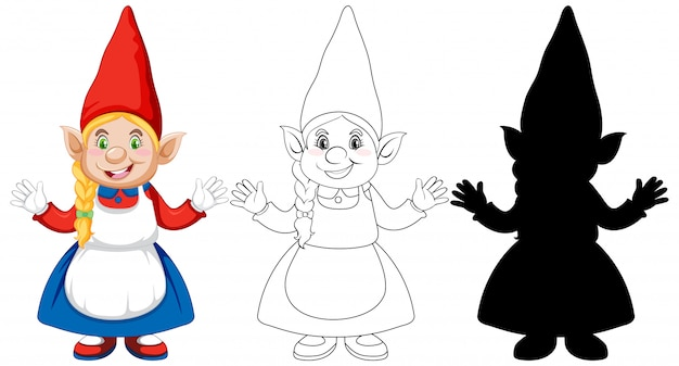 色と概要と白い背景の上の漫画のキャラクターのシルエットのgnome 無料ベクター